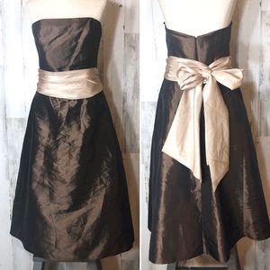 Bill Levkoff Strapless Chocolate Bridesmaid Dress